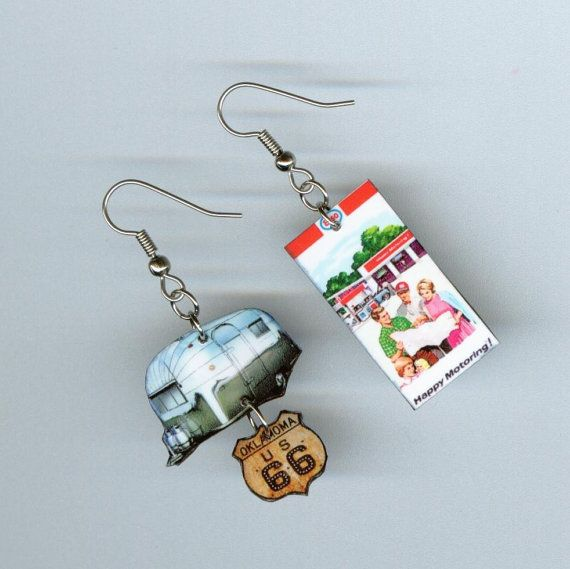 Airstream Earrings Vintage RV trailer MAP by DesignsByAnnette