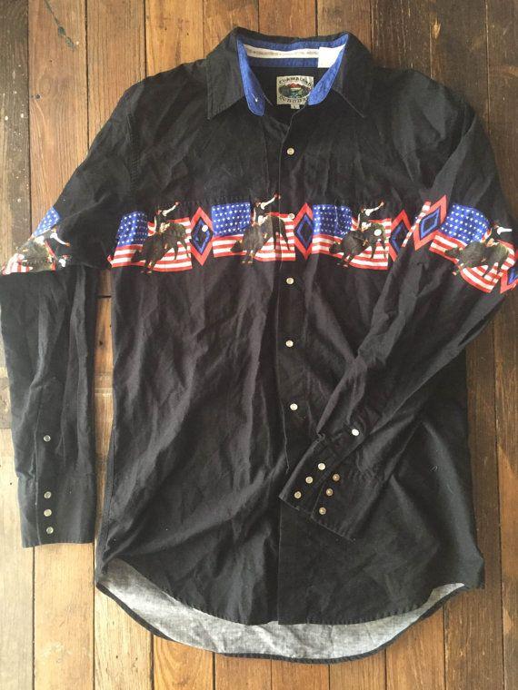 a70670a2b Western Rodeo Shirt, Cowboy Shirt, Cumberland Outfitters Bull Rider Shirt…