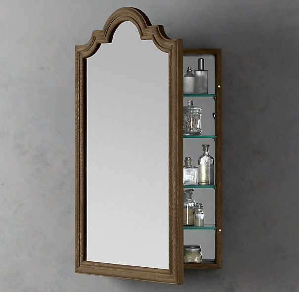 The curves at the top gives this medicine cabinet style - Large medicine cabinet mirror bathroom ...