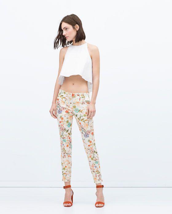 Spodnie Kobieta Floral Pants Zara Skinny Trousers Zara