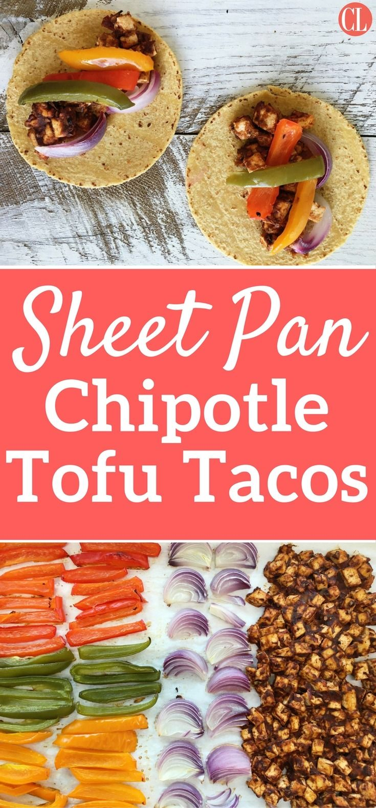 Enjoy tacos while also keeping your weeknight dinner fast, easy, and mess-free. All you need is a sheet pan, food processor, and bowl for this vegan recipe. Richly spiced chipotle tofu gets delectably chewy while brightly colored veggies sear for a flavorful taco filling that is sure to be a new member of your weekly recipe rotation. | Cooking Light