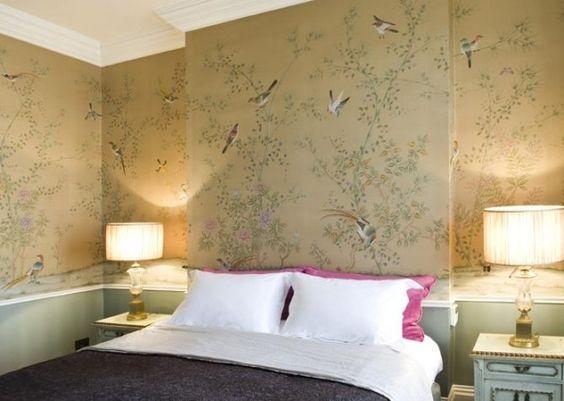Beige Seidentapeten Vögel Schlafzimmer Chinesische Blumenmuster:
