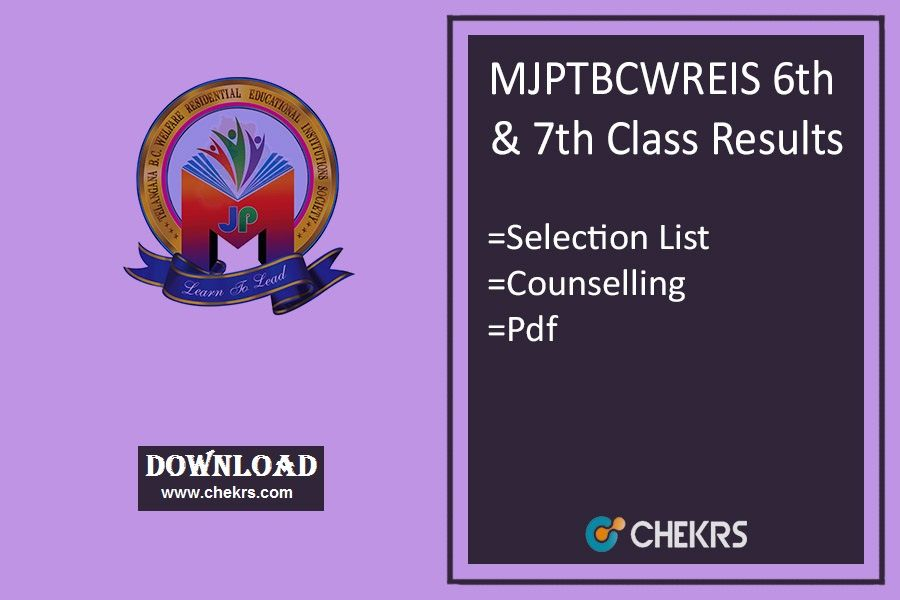 MJPTBCWREIS 6th \ 7th Class Results 2018- Selection List - new blueprint and model question paper for class xi