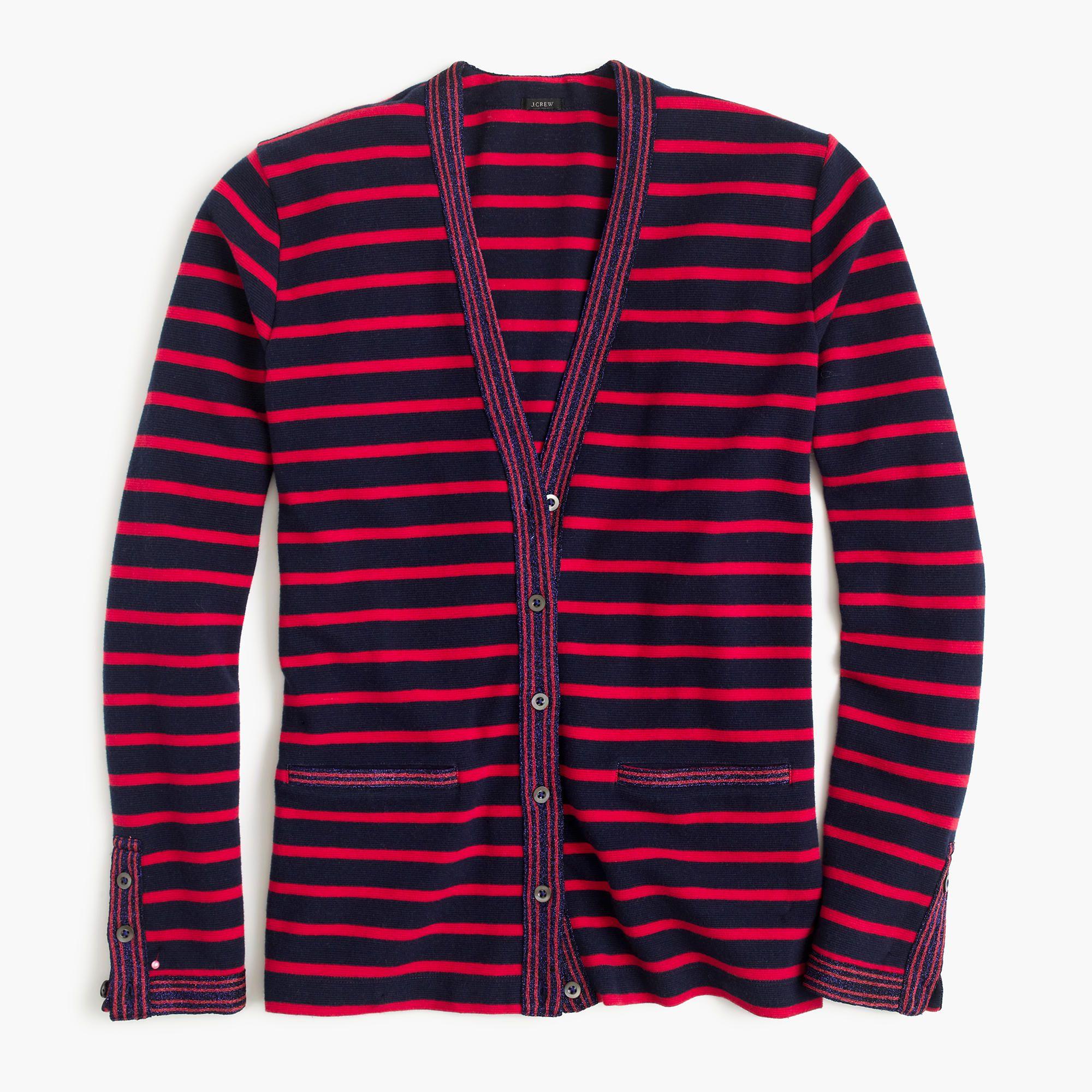 J.Crew Womens Metallic-Trim Striped Cardigan Sweater (Size L ...