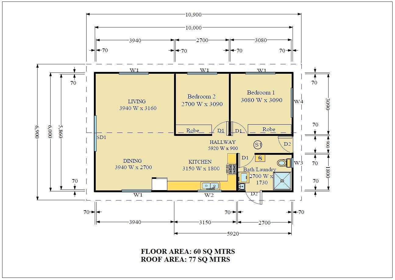 The Belinda Two Bedroom Granny Flat Design House Plans - Granny flat 2 bedroom designs