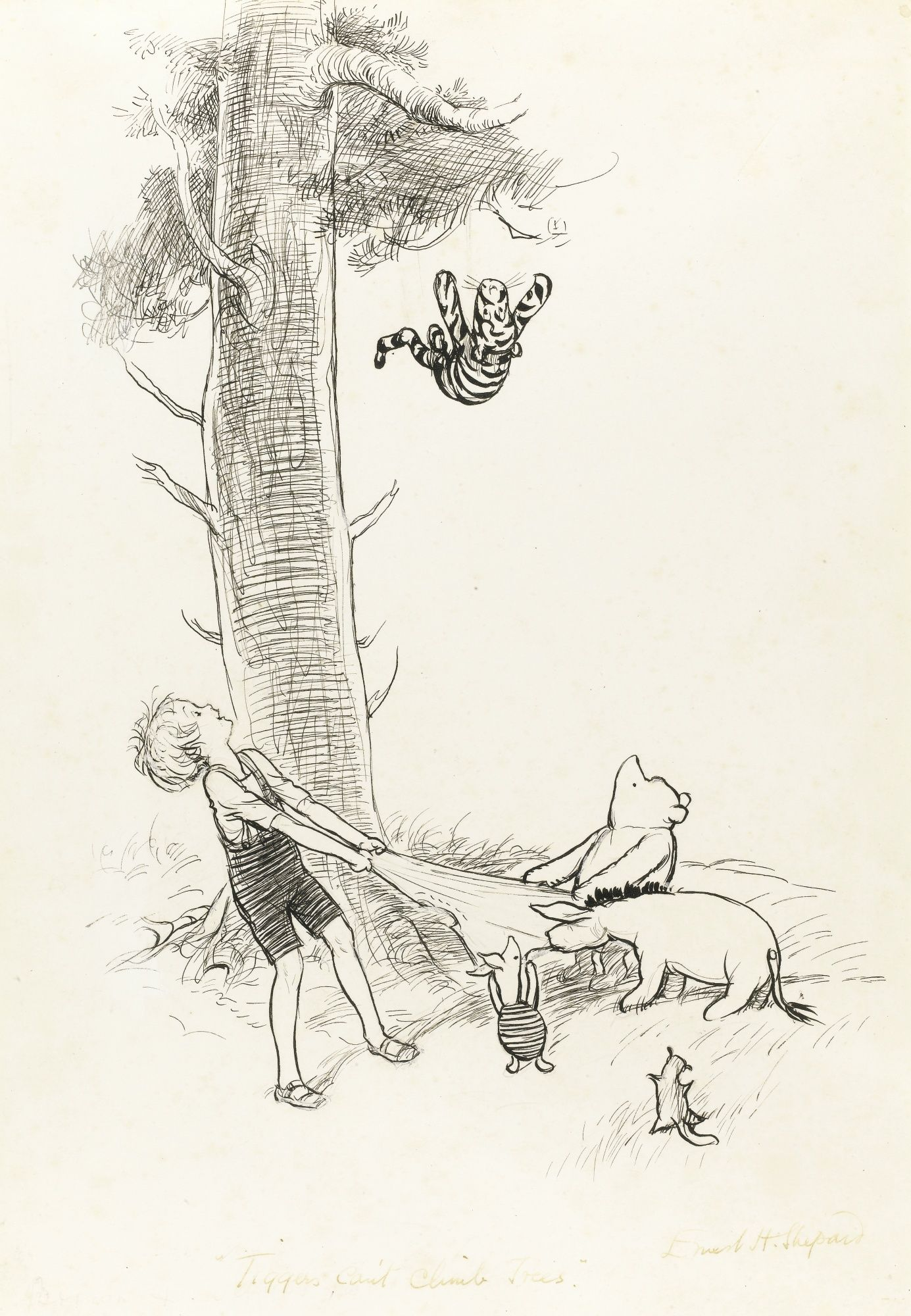 TIGGERS CANT CLIMB TREES 296 By 200mm Ink Drawing Sothebys 2012