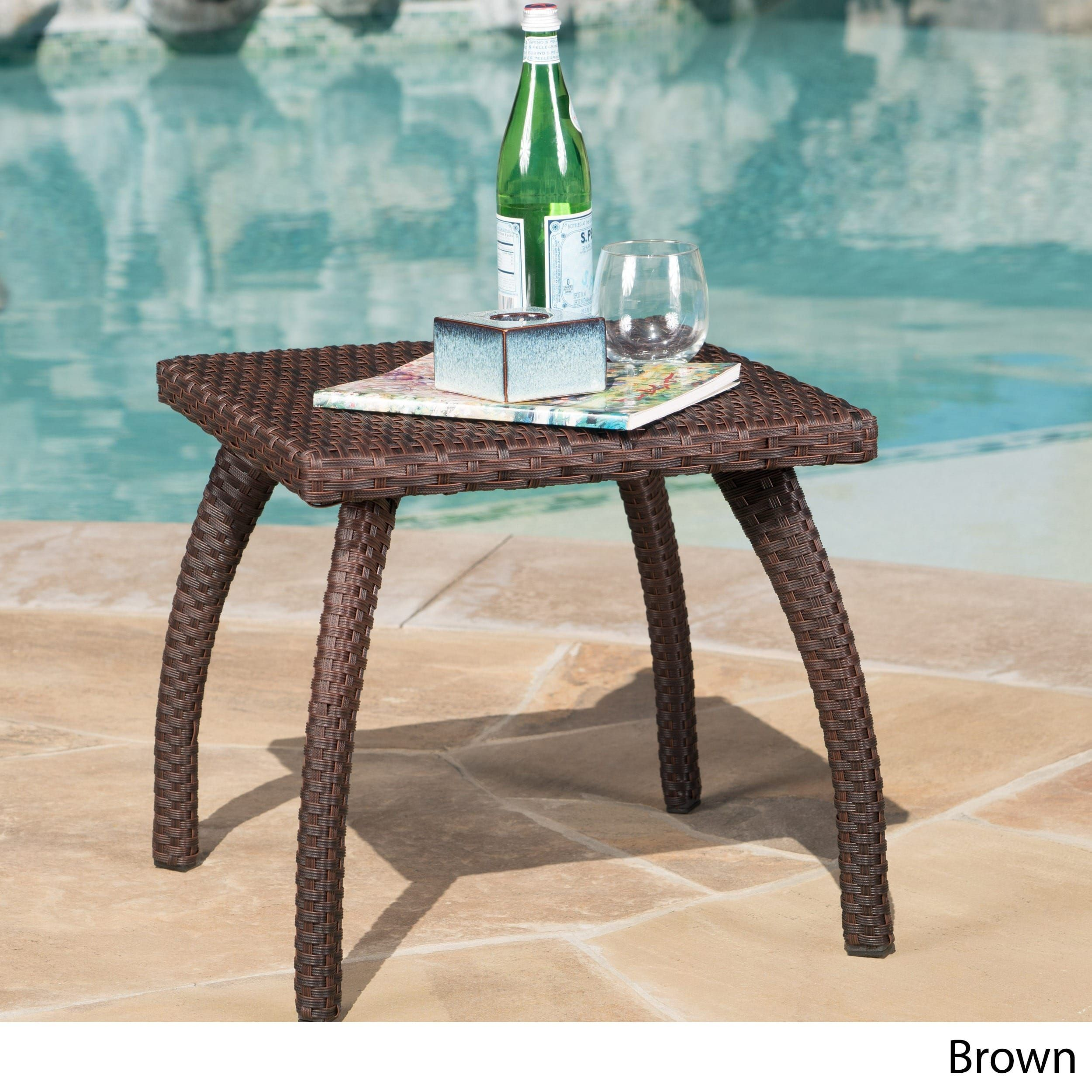 Honolulu Outdoor Wicker Side Table By Christopher Knight Home (Brown), Patio  Furniture (