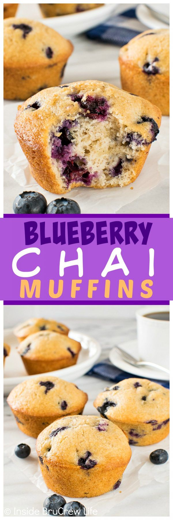 Blueberry Chai Muffins - soft fluffy muffins filled with spices and fresh berries are a delicious way to start out the morning. Great breakfast recipe!