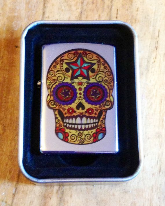 Personalised Sugar Skull Lighter in Gold by Hx5Designs on Etsy, £12.99