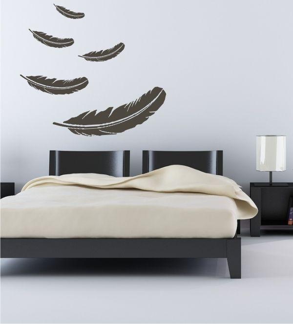 Wandtattoo, Wandsticker Schlafzimmer, Federn, Wandgestaltung - wandtattoos fürs schlafzimmer