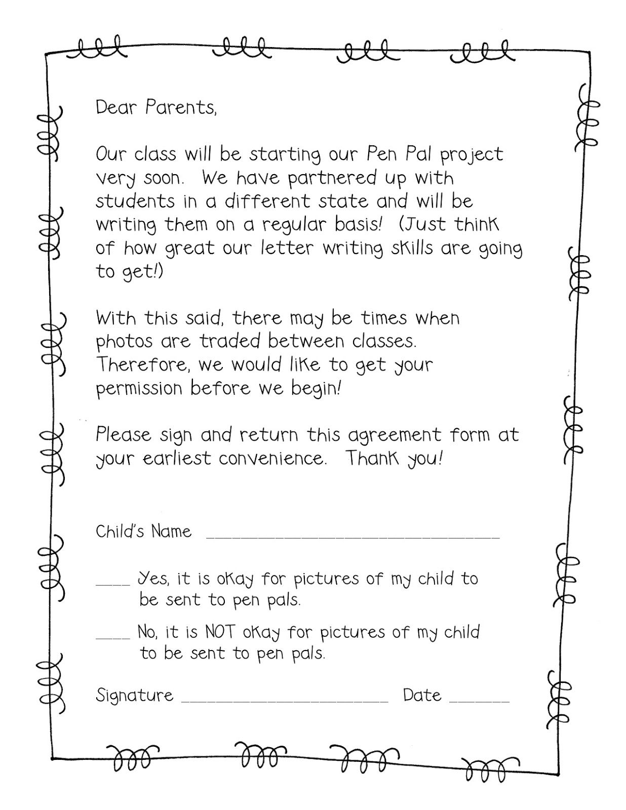 Pen Pal Freebie  Parent Permission Slip  School