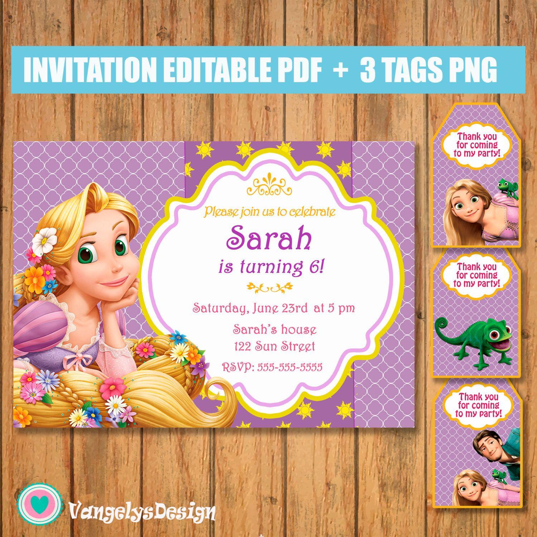Invitacion Rapunzel Enredados Cumpleaños Pdf Editable