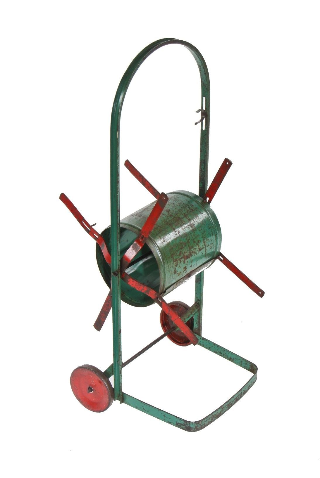 original and intact c. 1940's american vintage industrial painted steel winding water hose reel combined with mobile cart