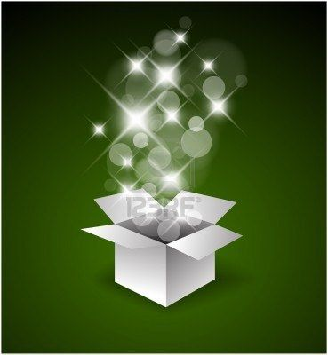 Magic gift box with a big surprise - christmas illustration Stock Photo