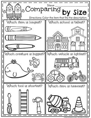 Measurement Worksheets Kindergarten math worksheets