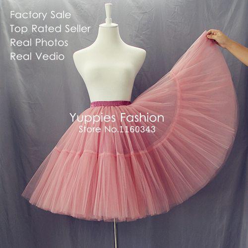 Encontrar Más Faldas Información acerca de 5 capas 55 cm largo Celebrity  Tulle Faldas para mujer falda de Midi princesa de adultos Tutu vestido de  bola del ... 42bce781aad5