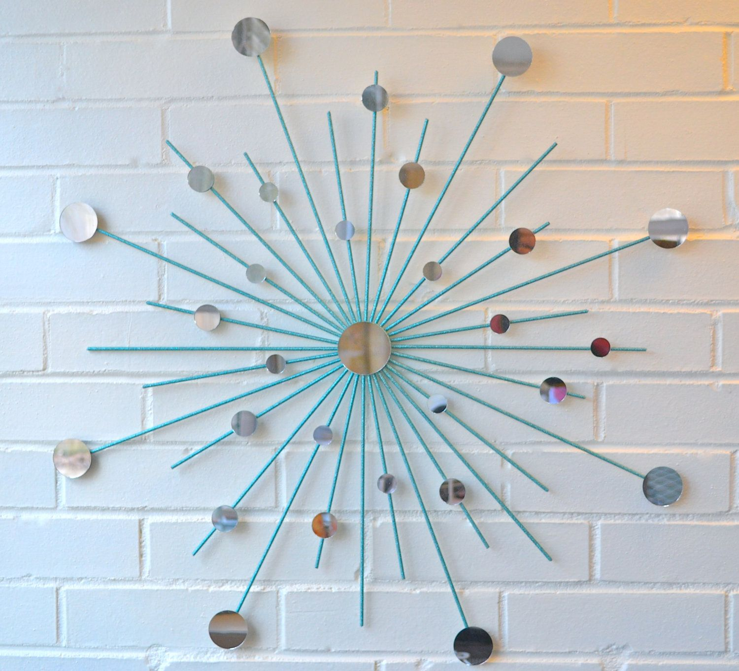 Teal Metal Wall Art Modern Metal Wall Art Mirror Mod Style Star Starburst Sun Sunburst