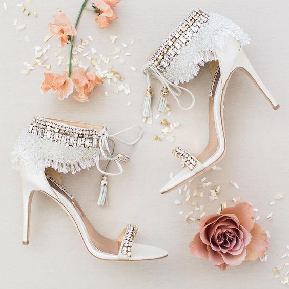 Gorgeous White Boho Glam Wedding Heels With Rhinestones Fringe And Lace Up Tassels For A Rom Boho Wedding Shoes Bohemian Wedding Shoes Boho Chic Wedding Shoes