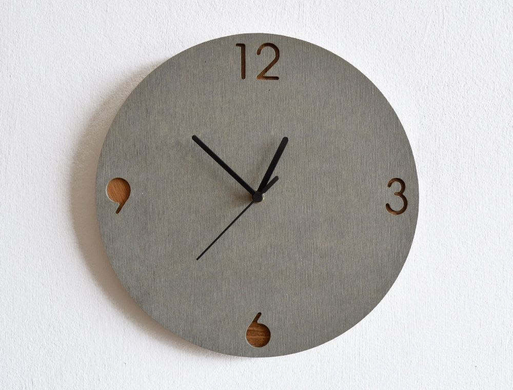Concrete and Wood Circle Wall Clock - Modern Wall Clock | 钟表 ...