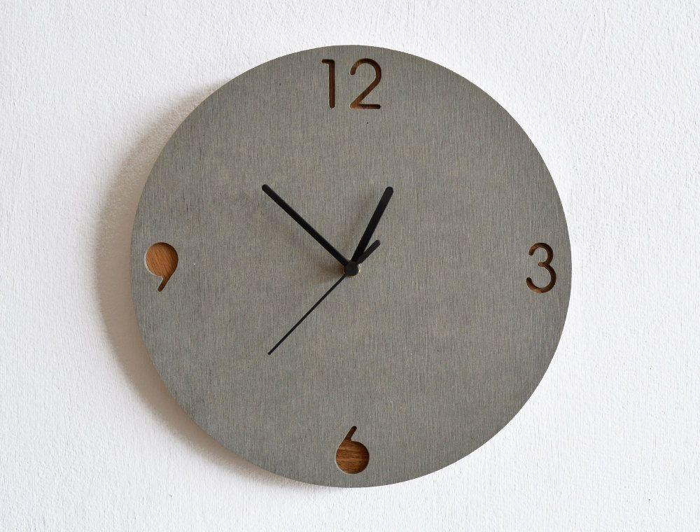 Concrete and Wood Circle Wall Clock - Modern Wall Clock ...