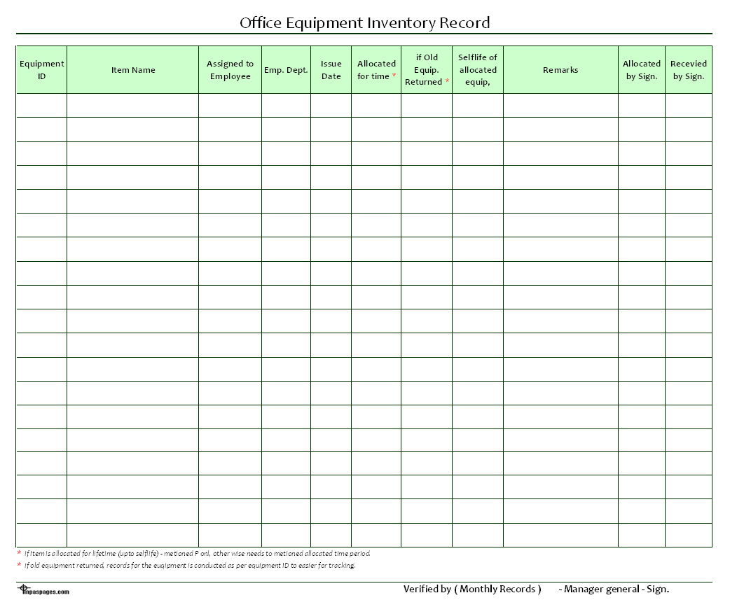 Office Equipment Inventory Record  Format  Example  Template