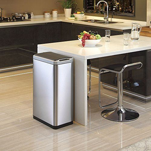 Eko 12 Gallon Motion Sensor Stainless Steel Trash Can Round Mercial