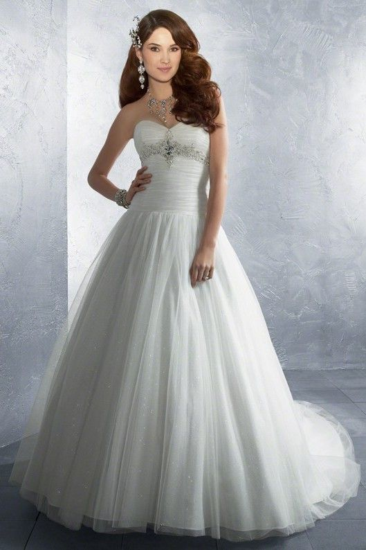 New Arrival Wedding Dresses A-Line Sweetheart Sweep/Brush Train Tulle