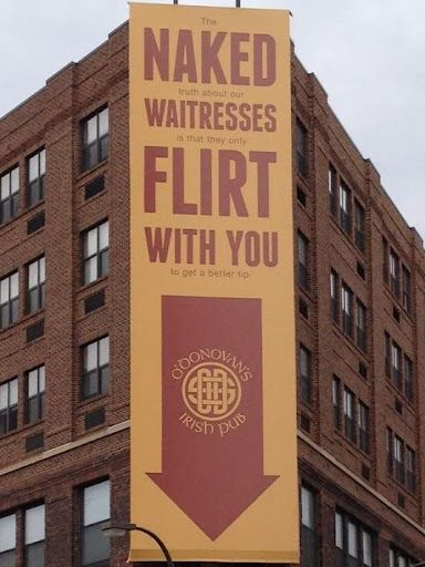 Very Creative Restaurant Billboard Ad: Naked Waitresses Flirt With You... Funny and creative