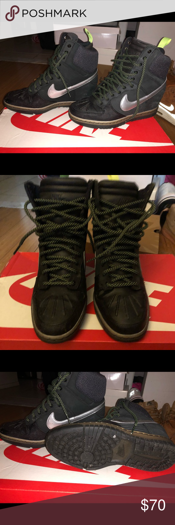 sports shoes 9da14 65c6f Womens Dunk Sky Hi Sneakerboot 2.0 Worn, great for rain or snow! Hidden  Wedge and super comfy and cozy. Reflective laces and swoosh Nike Shoes  Winter   Rain ...