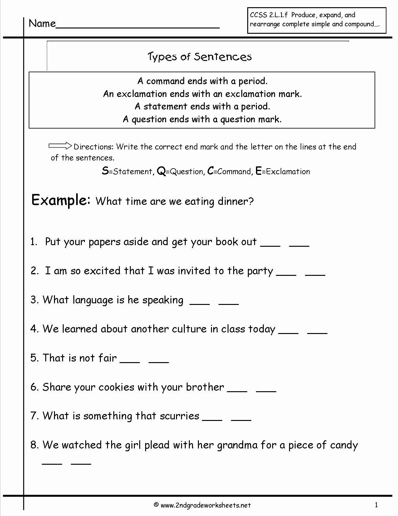 Types Of Sentences Worksheet Elegant Second Grade