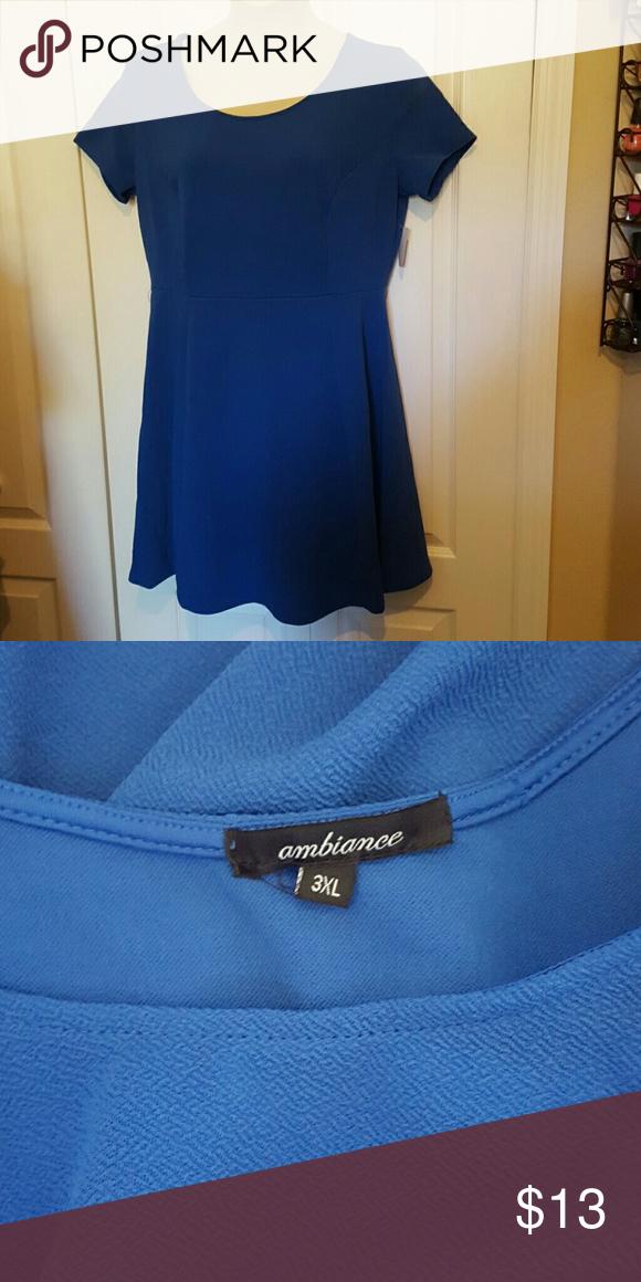 Plus size skater dress Royal blue poly stretch Ambiance Apparel Dresses Mini