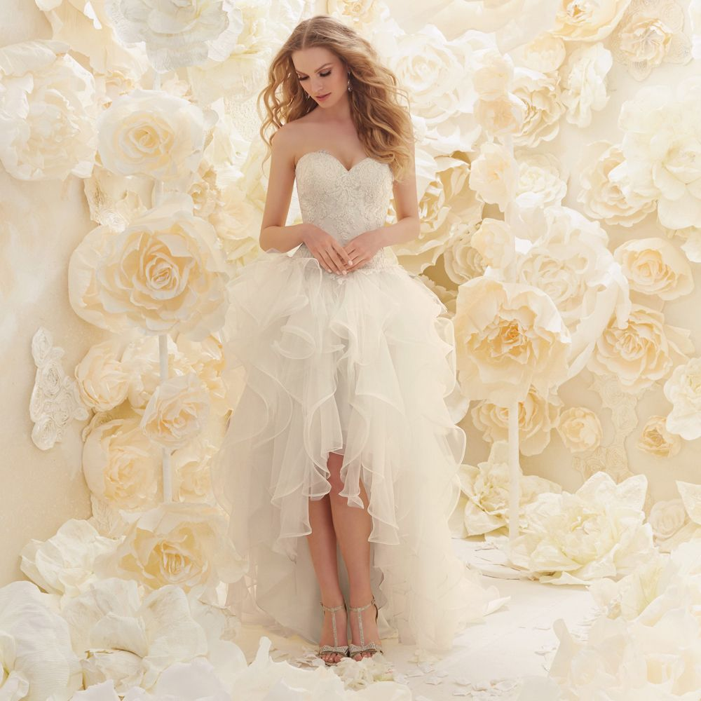 High low wedding dresses cheap  New Arrival Sweetheart Bridal with Ruffles Custom Organza High Low