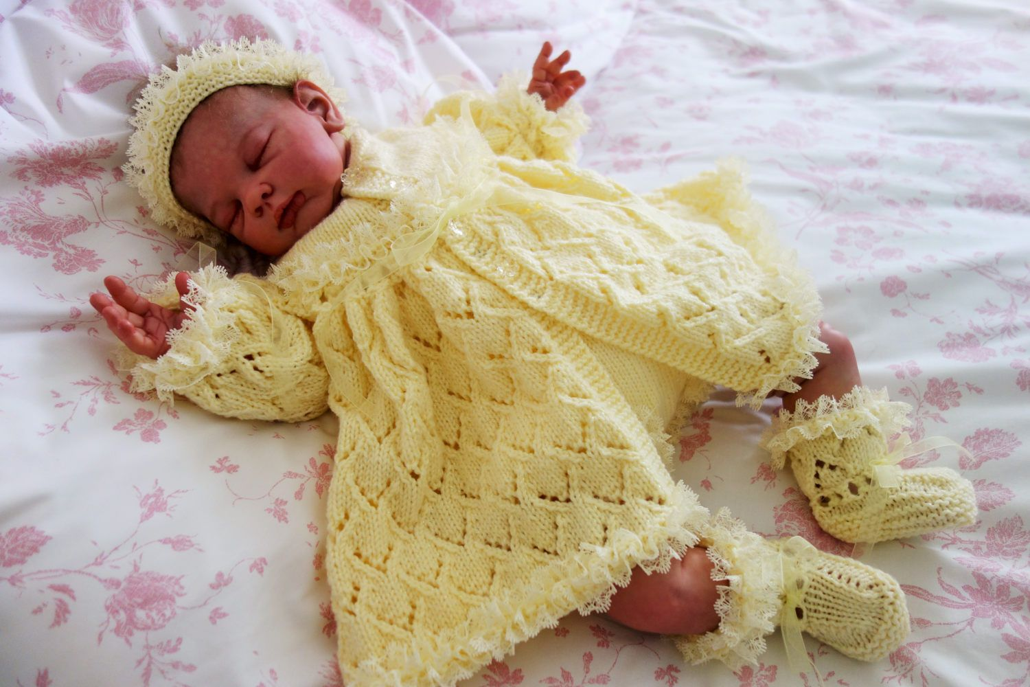 94ae384d0dfb Hand knitted fancy baby girl s outfit comprising matinee coat ...