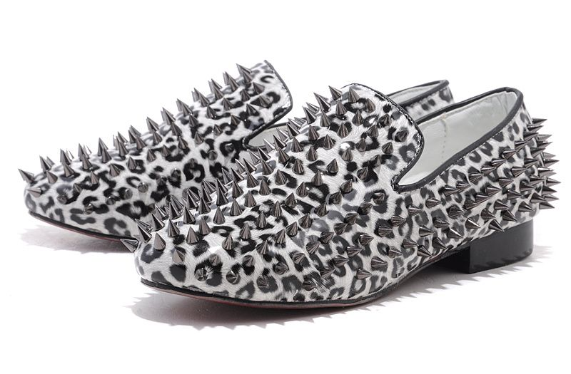 Christian Louboutin Shoes Men Silver Glitter Leather and Spikes