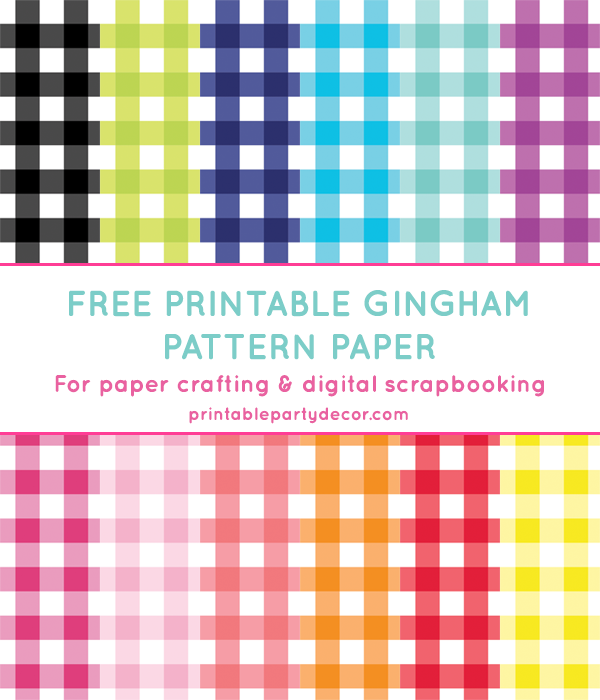 Gingham Digital Paper In 12 Colors Chicfetti Parties Free Scrapbook Paper Digital Paper Free Printable Paper