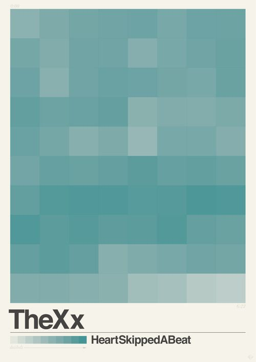 The xx - Heart Skipped A Beat // Audiografix series by Abbas Mushtaq  Visual geometric posters literally visualising the song in question. As the squares are brighter, the song is louder at that point in the song (in decibels) giving you the song in a visual piece of graphic design.
