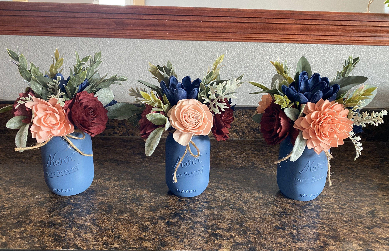 Handmade Large Wood Flower Mason Jar Arrangement Home Decor