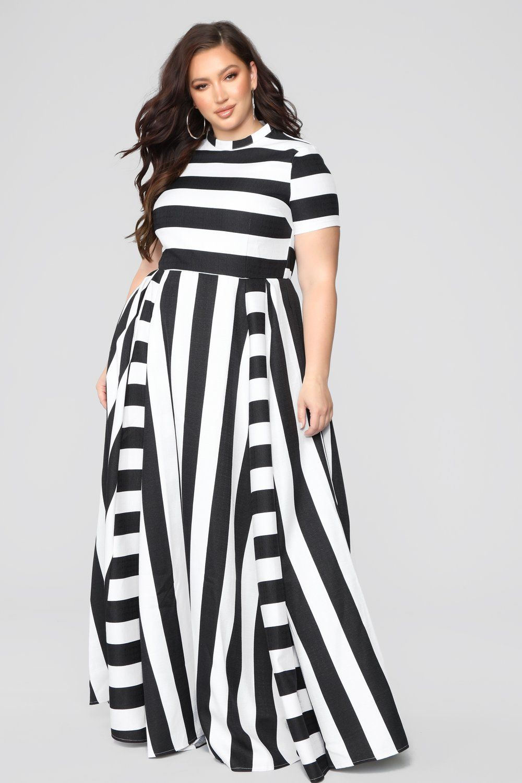 Throwing You Off Stripe Dress - Black/White | Plus size | Pinterest ...