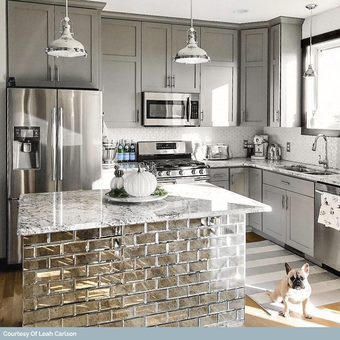 Paris Gray Beveled 3x6 Antique Mirror Tile Kitchen Remodel Small Kitchen Design Open Home Kitchens 3 x 6 kitchen island
