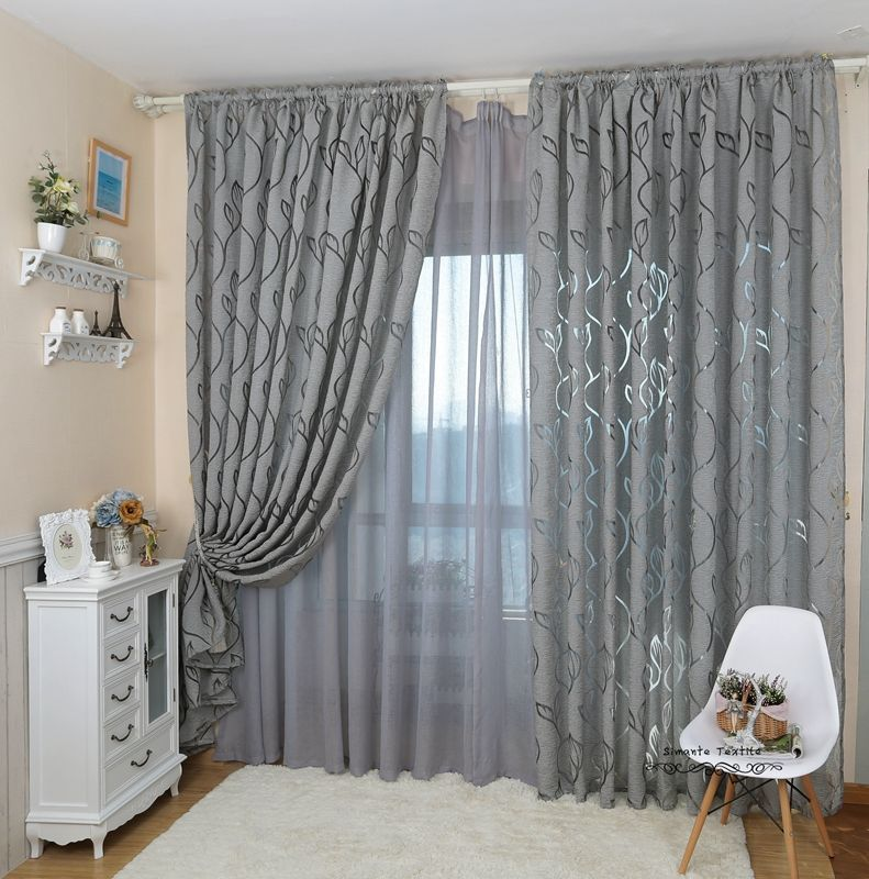 Leaf Style Design Jacquard Curtain Blind For Window Living Room Home Decoration