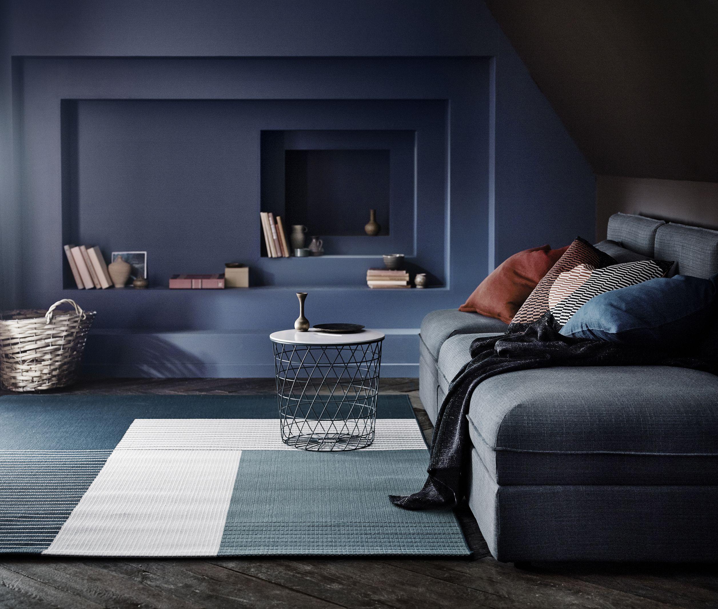 ROSKILDE Tæppe, fladvævet, indendørs/udendørs blågrøn.