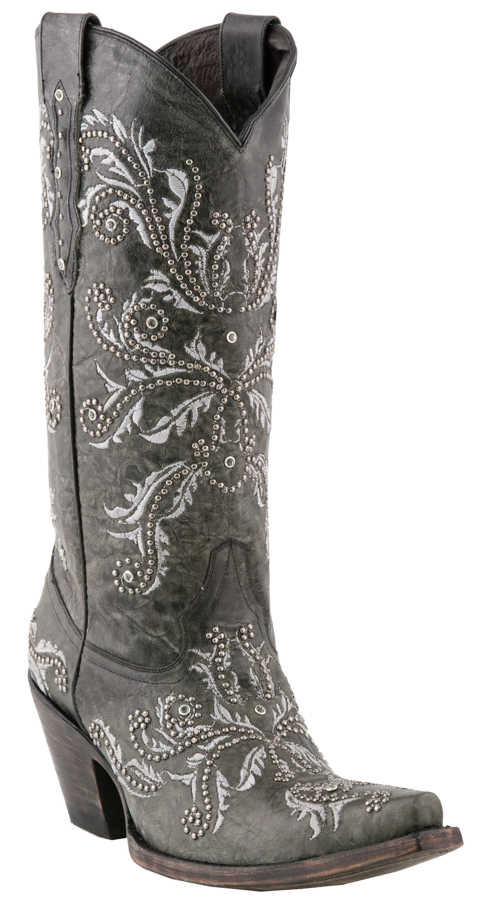 *NEW* Lucchese Since 1883 Ladies Studded Angelina Grey Oklahoma Calf Leather Cowgirl Boots M5717