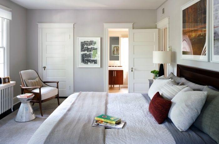 Schlafzimmer Farben Ideen-hell grau sorgt für ein luftiges
