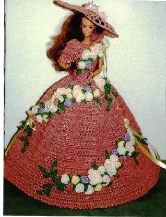Crochet Fashion Doll Barbie Pattern- #268 ROSE GARDEN PARTY | Barbie ...