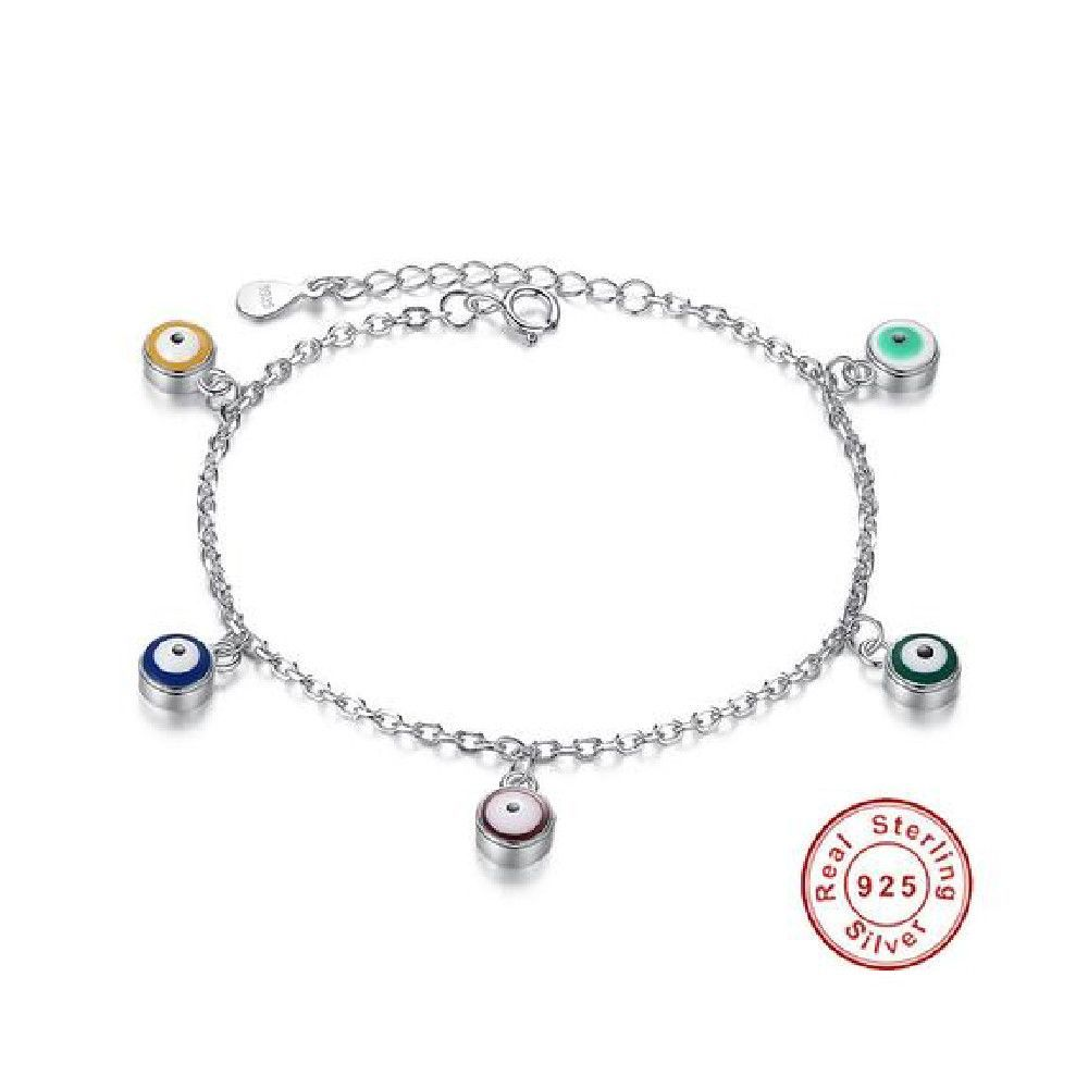 sterling silver long chain evil eye charm bracelet products