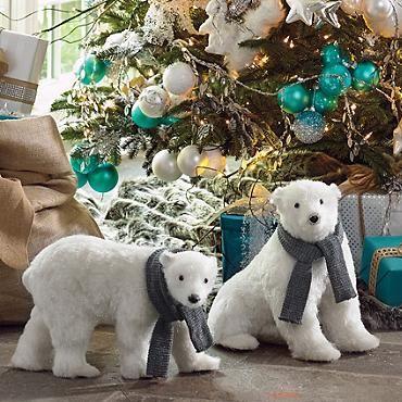 Sitting Polar Bear With Scarf Grandin Road Polar Bear Christmas Polar Bear Bear Decor