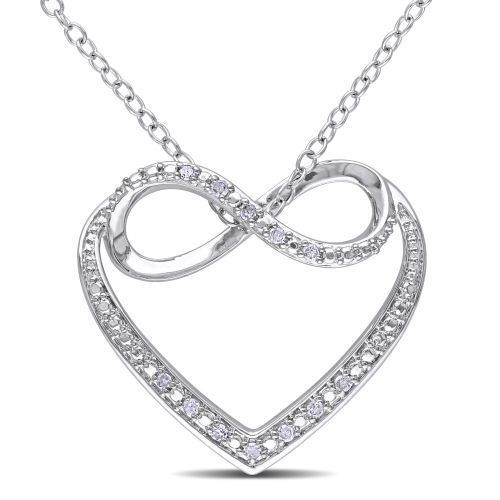 Diamond Heart Necklace Valentines Day Sterling Silver Pendant Chain Gift For Her #DiamondHeartNecklace #Pendant