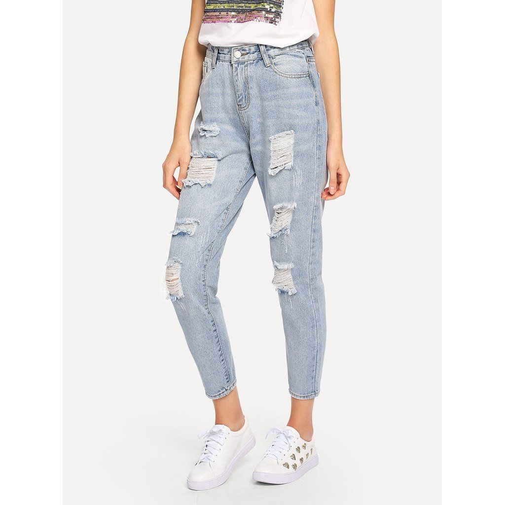 Photo of Ripped Bleach Wash Jeans