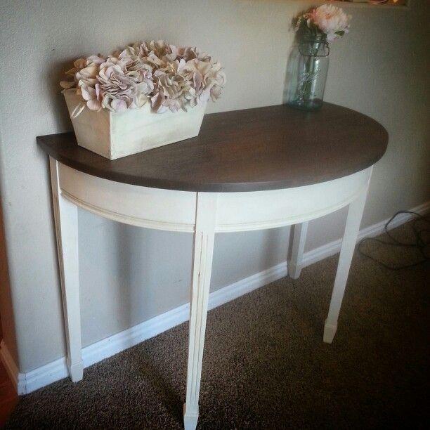 Refinished Half Moon Table Dark Gel Stain Old White Dark Wax