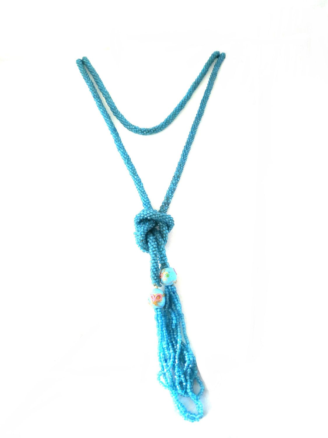 """Vintage 1920s Flapper Turquoise Glass Seed Bead Rope Venetian Wedding Cake Bead Tassel 67"""" Sautoir Necklace AS IS by TheGemmary on Etsy"""